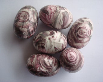 Pink roses easter eggs,decoupaged eggs,wooden eggs,decoupage wooden eggs,decorative eggs decoupage,Πασχαλινά αυγά με χαρτοπετσέτες