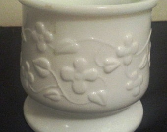 Flowered Milk Glass Vase or Planter (#1010)