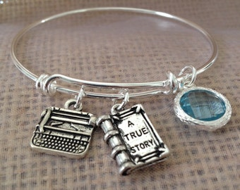 Typewriter author-Bracelet with typewriter book and stone- for the writer author