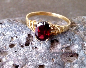 SALE!  Garnet ring, gold ring, simple ring, january ring, birthstone ring, lace ring, wrap band,gift idea