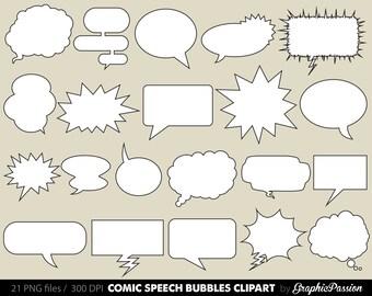 Comic clipart  Speech Bubbles Clipart  Cartoon Cloud Clip Art Comics Clipart  DecorationTalk & Thought BUBBLES