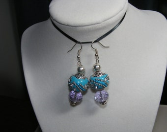 """Cute Aqua color earrings with disco ball type theme  Approx 2 1/2"""" drop Free Shipping"""