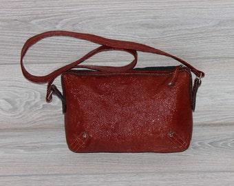 Red vine  handbag handmade patent leather