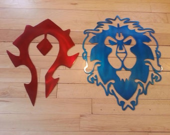 WORLD of WARCRAFT - Alliance and the Horde, Metal Art, Decor, WOW, Gamer, Gaming, Man Cave