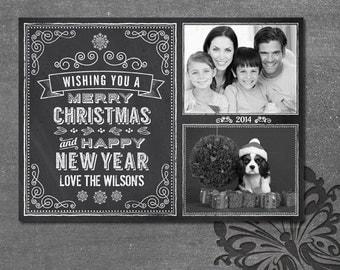Chalkboard Christmas Card 2 Photos