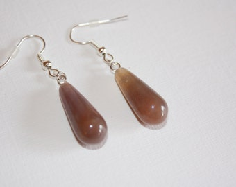 Pale Brown Indian Agate Truncheon Drop Silver Earrings