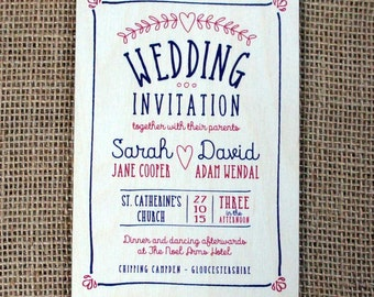 Wooden Printed Wedding Invitations (Laurel Heart)