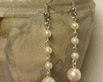 Long Dangle Pearl Earrings