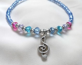Anklet - Music Note Anklet - Blue Anklet with Music Note Charm - Music Note Ankle Chain - Ankle Bracelet -