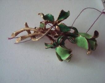 Vintage enamel and rhinestone floral pin