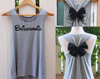 Bridesmaid tank top. Bow tank top. Bridesmaid Bow. Team Bride shirt. Team Bride bow.  Bachelorette party.