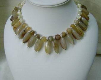 Agate & Sterling Silver Choker Necklace