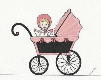Baby Carriage Art Digital Download