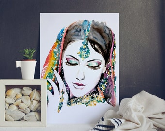 Woman Portrait - Watercolor Illustration - Watercolor Painting- Art Poster - Watercolor Print