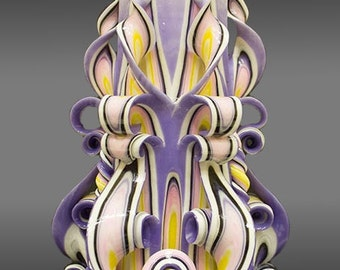 "22cm/8"" Carved Candle - Large Candle - Purple / Yellow Candle"