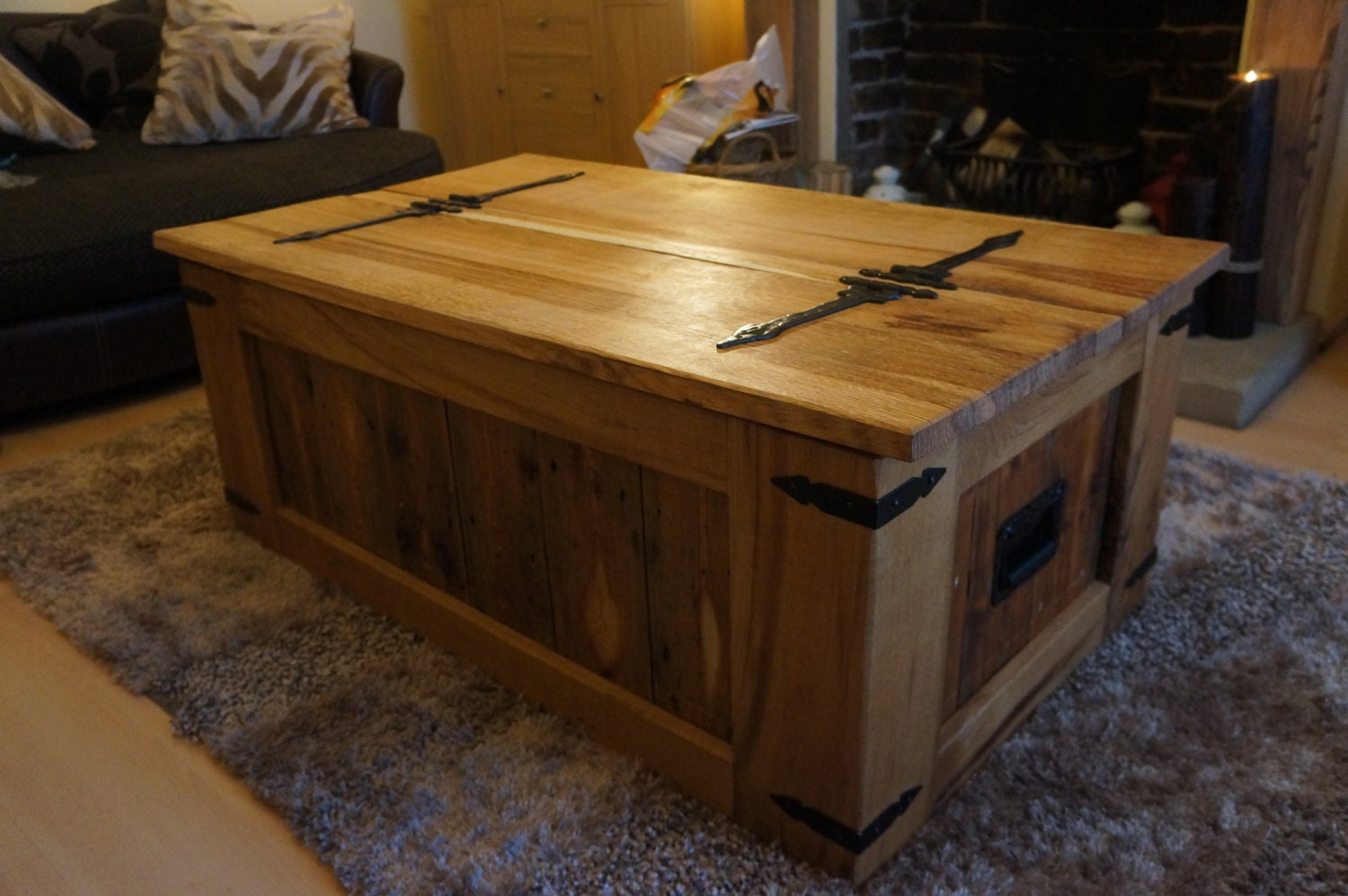 Oak Trunk Coffee Table Chest Storage Toy Box By Antsartandcrafts