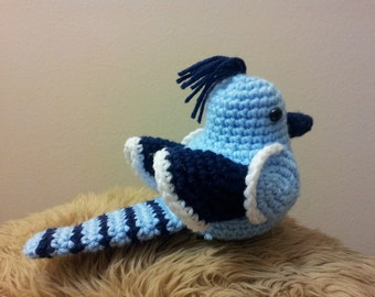 Amigurumi crochet stuffed blue jay