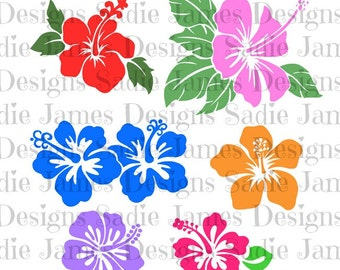 Hibiscus Flower Collection SVG amd Silhouette Studio cutting file, Instant Download
