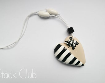 Polymer clay heart necklace, Heart jewelry, Heart necklace, Striped necklace, Black and white stripes, Long necklace, Patched heart necklace