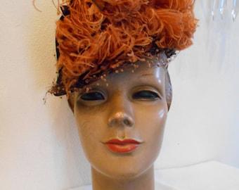1940's Ostrich Feathered Tilt Hat