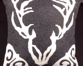 Deer and antler decorative  felt throw  pillow in charcoal grey and cream