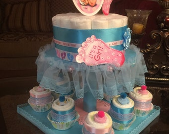Gender reveal diaper cake with cupcakes-blue and pink diaper cake set- it's a girl