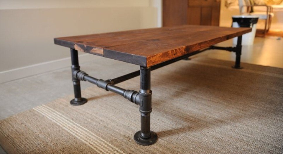 Rustic industrial pipe oak wood coffee table metal pipe for Rustic pipe table