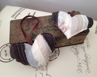 Heart Shaped Keepsake/Decoration Made from Vintage Fabrics.