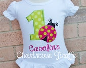 Personalized Girl's Ladybug Birthday Shirt  in Lime green and hot pink.