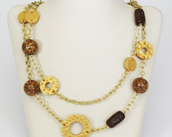 Free Shipping Handmade Necklace with Gold, Brown and Leopard Skin Pattern Clay Beads on Golden Chain