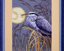 """Embroidered in the technique of hand-made silk satin stitch """"Heron Moon"""""""