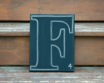 Scrabble letter wall art, Monogram, initial, personalized, scrabble, Chalkboard Scrabble Monogram Canvas, chalkboard sign, name sign, rustic