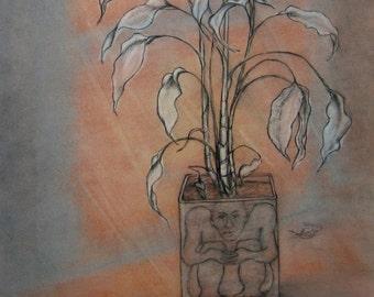 Large Whimsical Pastel Drawing of Sad Plant