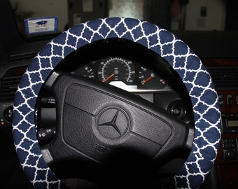 Navy and White Steering Wheel Cover . Womens Wheel cover . Car Accessories .Quatrefoil wheel cover