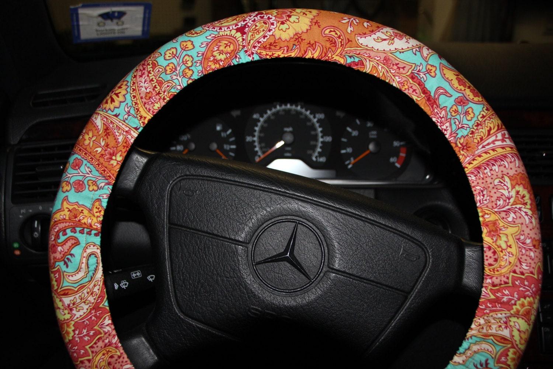 Steering Wheel Cover In Orange And Aqua Paisley Wheel Cover