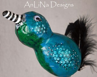 Medium Squirrely Bird Mixed Media Sculpture in Teal and Green