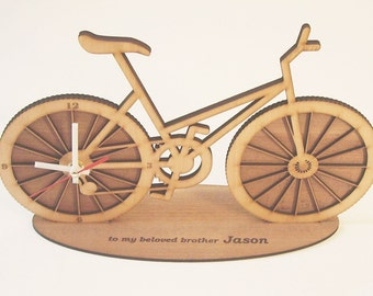 """Wooden desktop clock - """"BICYCLE"""" - engrave your text!"""