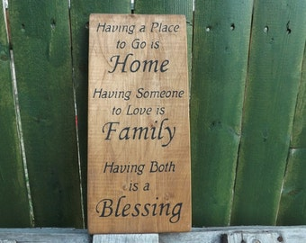Home Family Blessing wood sign country rustic wall decor
