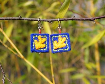 Matisse-Inspired Felt Dangle Earrings in Blue and Yellow