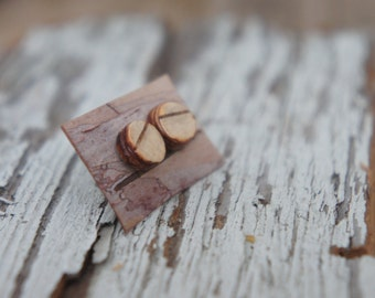 Handmade Birch Bark Stud Earrings