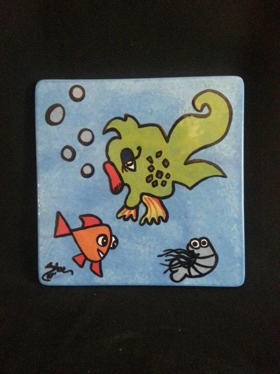 """Unique Tropical Fish Ceramic Trivet 6"""" x 6"""""""