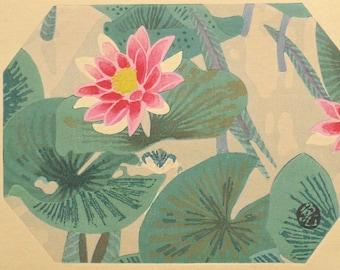 "Ukiyoe, Original Sōsaku-hanga, Woodblock print, antique, Tobei Kamei, ""Water lily"""