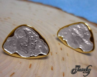 Gold Trim Mother of Pearl Leaf Earrings