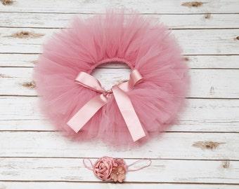 Mauve pink tutu , Dusty rose headband,  Dusty rose tutu and matching headband, Mauve pink smash cake tutu