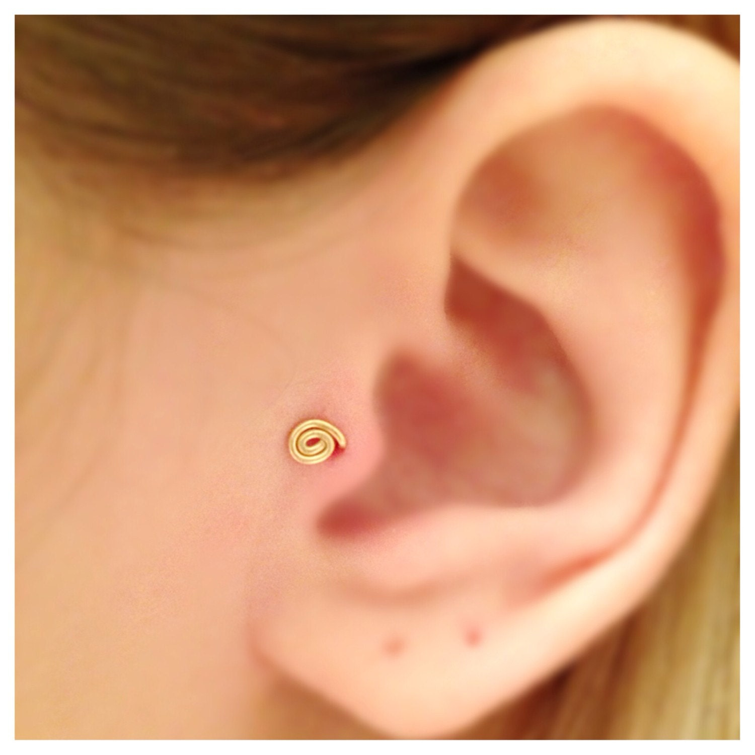 Tiny 14k Gold Filled Spiral Tragus Earring Gold Tragus