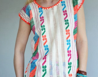 70's Ethnic Embroidered Folk Blouse with Yarn Trim Stiching
