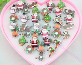 36pcs Holiday Rings Grab Bag Child Size Rings Christmas Stocking, Santa, Reindeer, Snowman, Jingle bell Adjustable Kid Rings  w/ gift box
