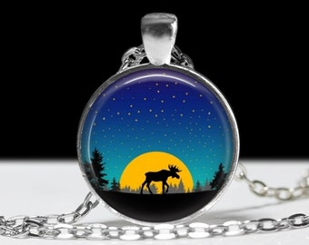 Moose Necklace Moose and Moon Jewelry Necklace Wearable Art Pendant Charm Moose Pendant Charm Pink
