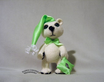 Sleepy Bear - Hand made - Needle felted - Home decor - Fiber art - Interior toy - MADE TO ORDER