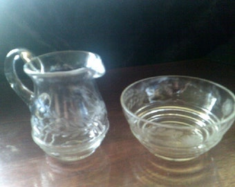 Sugar and Creamer Set Etched glass